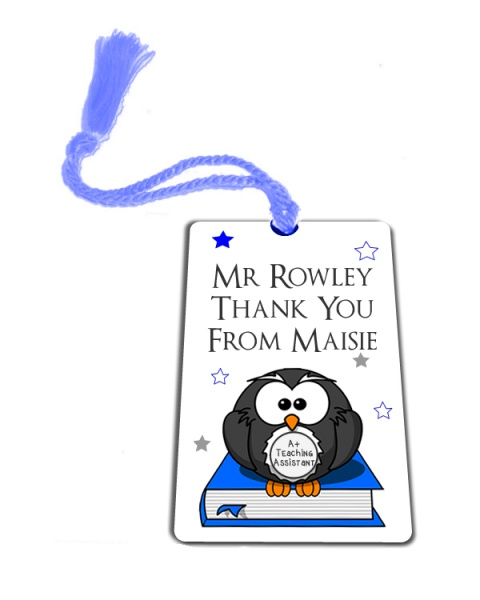 Personalised Blue Owl Thank You Teaching Assistant Gift Metal Bookmark