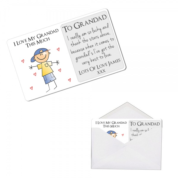 Personalised I Love My Grandad This Much Metal Wallet / Purse Sentimental Card