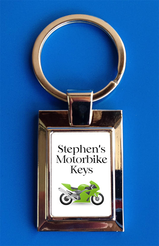 Personalised Green Motorbike Keyring