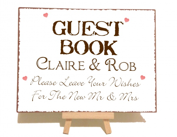 Personalised Guest Book Vintage Shabby Chic Style Metal Sign