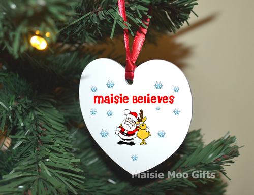 Personalised Christmas Tree Heart Metal Child Believes Decoration