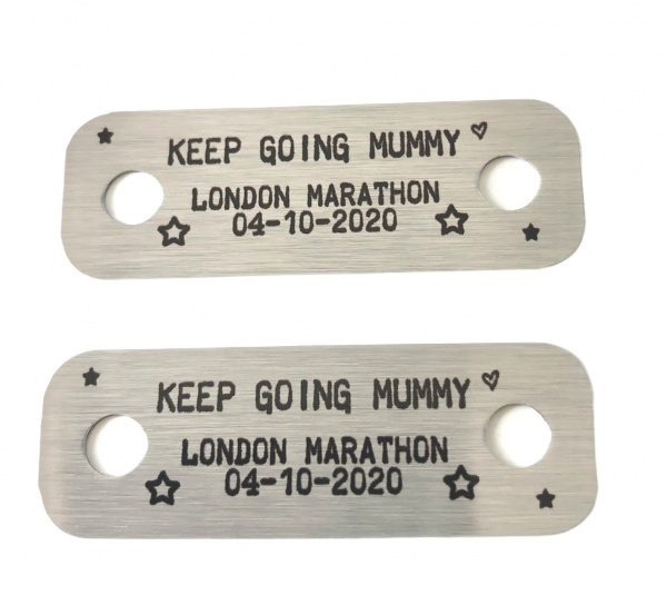 Personalised Metal Brushed Steel Trainer Lace Tags