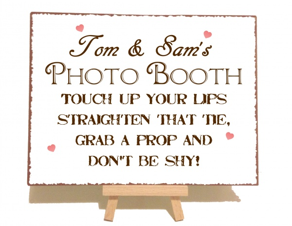 Personalised Photo Booth Vintage Shabby Chic Style Metal Sign