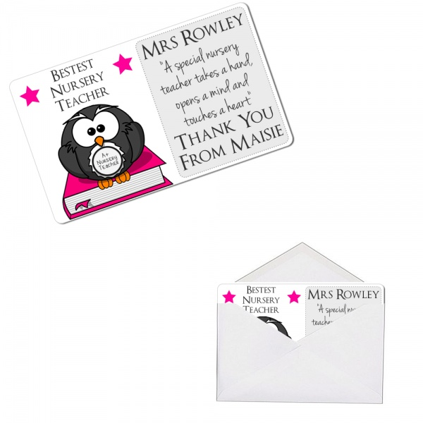 Personalised Bestest Nursery Teacher Metal Wallet / Purse Sentimental Card
