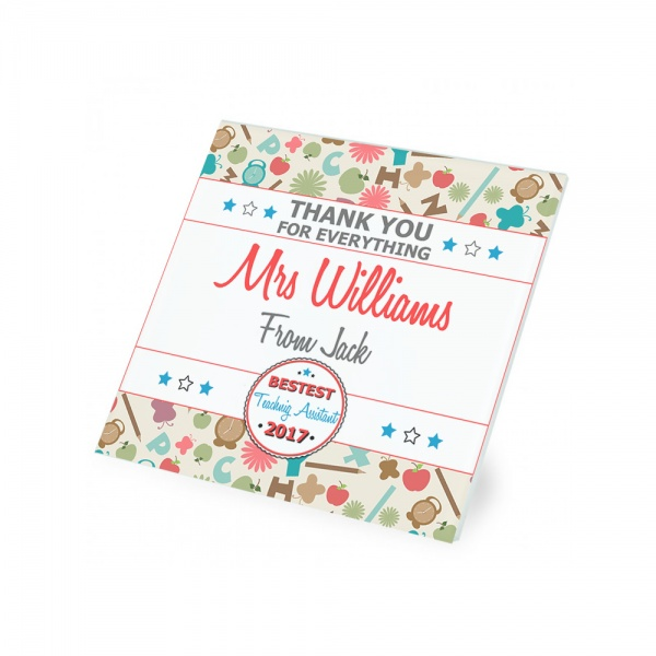 Personalised Thank You Teachnig Assistant Glass Coaster Gift