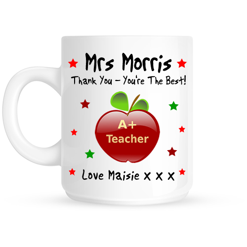 Personalised Apple Thank You Teacher Gift Mug