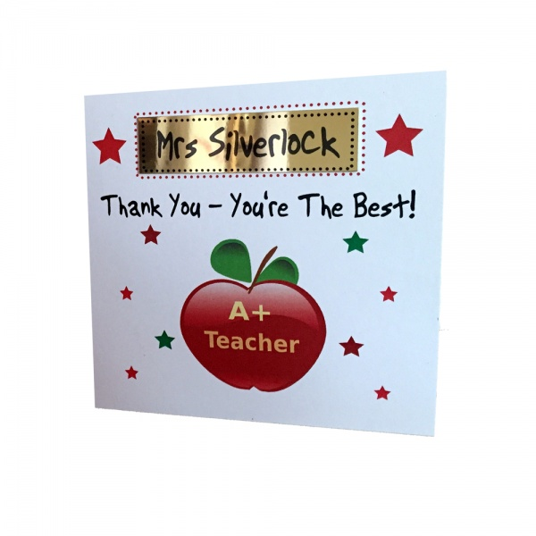 Personalised teacher card personalised teacher thank you card personalised apple thank you teacher greeting card m4hsunfo