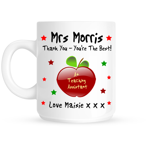 Personalised Apple Thank You Teaching Assistant Gift Mug