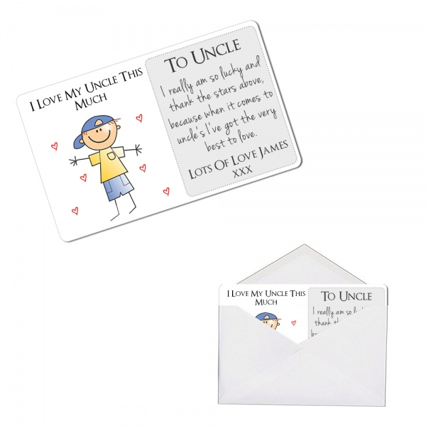 Personalised I Love My Uncle This Much Metal Wallet / Purse Sentimental Card