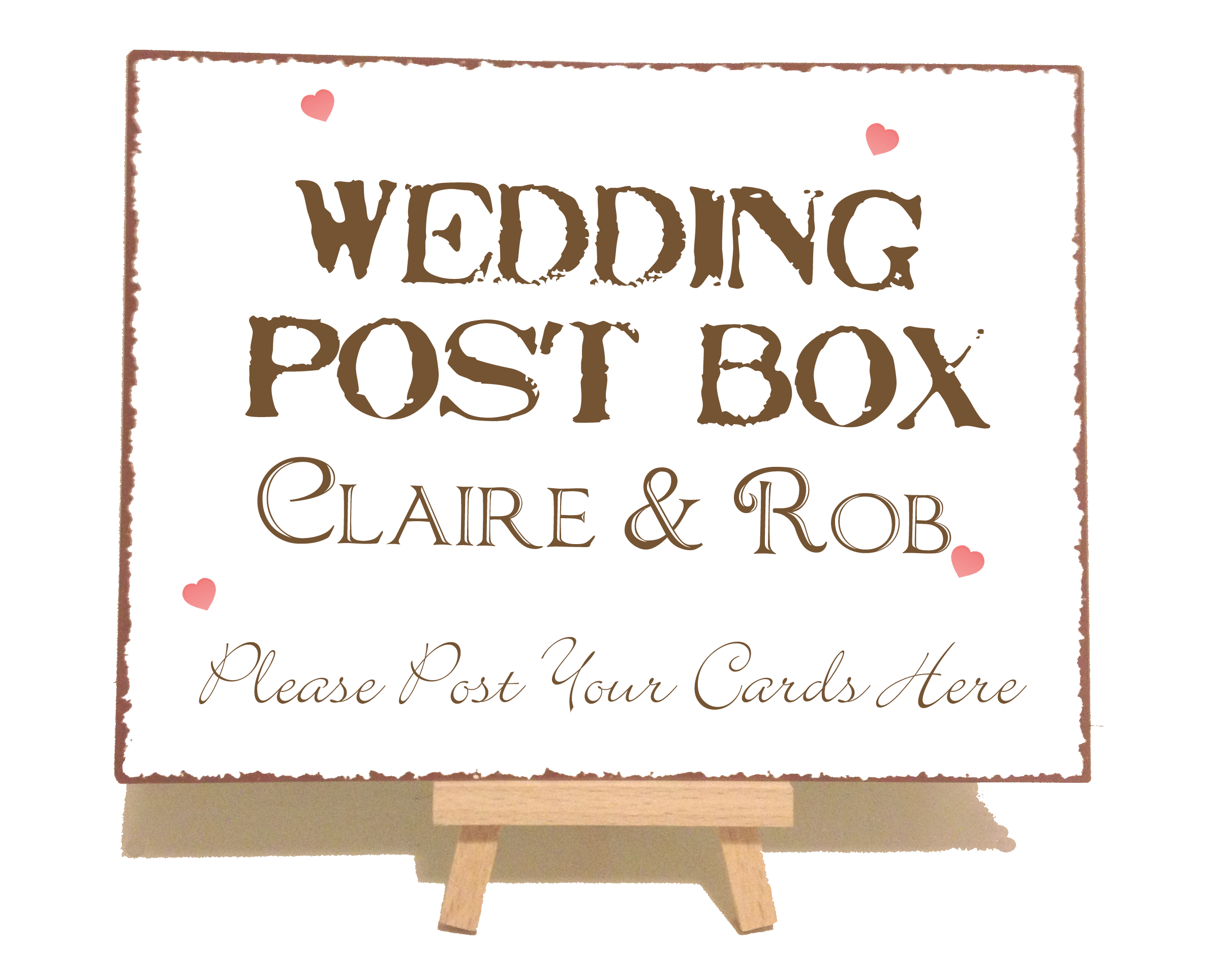 Personalised Wedding Post Box Vintage Shabby Chic Style Metal Sign