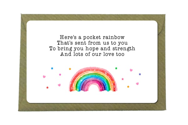 Rainbow Of Hope Metal Wallet Card Sentimental Gift Note ''Lots Of Our Love''
