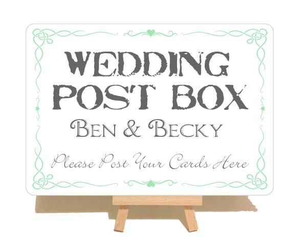 Personalised Swirly Wedding Post Box Sign Personalised Wedding