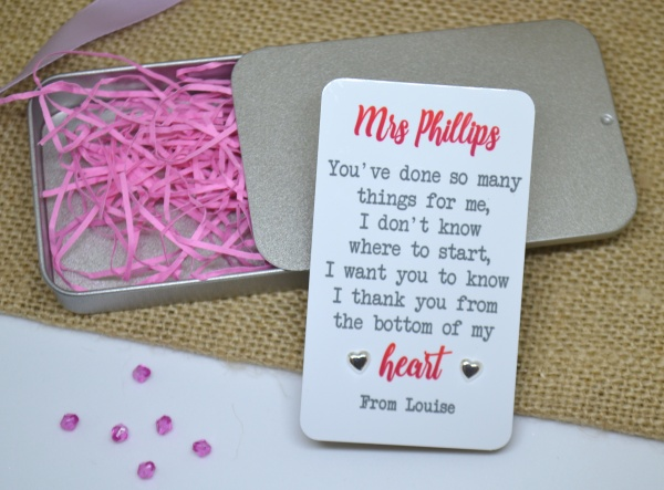 Teacher Thank You Personalised Earring Gift Set