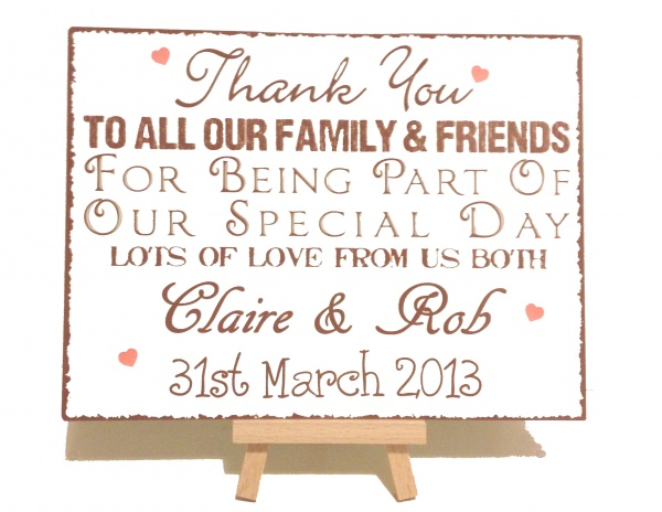 Personalised Thank You Wedding Vintage Shabby Chic Sign