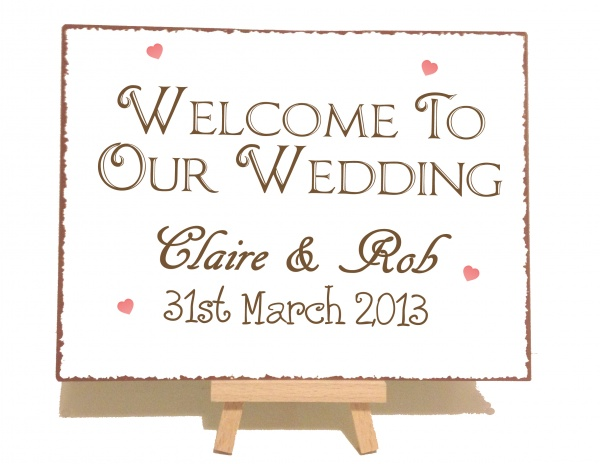 Personalised Vintage Welcome To Our Wedding Sign   Welcome Sign ...