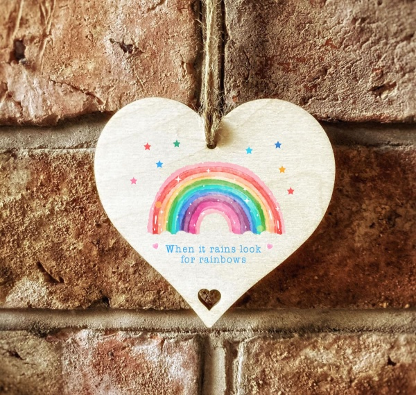 When It Rains Look For Rainbows Wooden Hanging 10cm Sign Gift