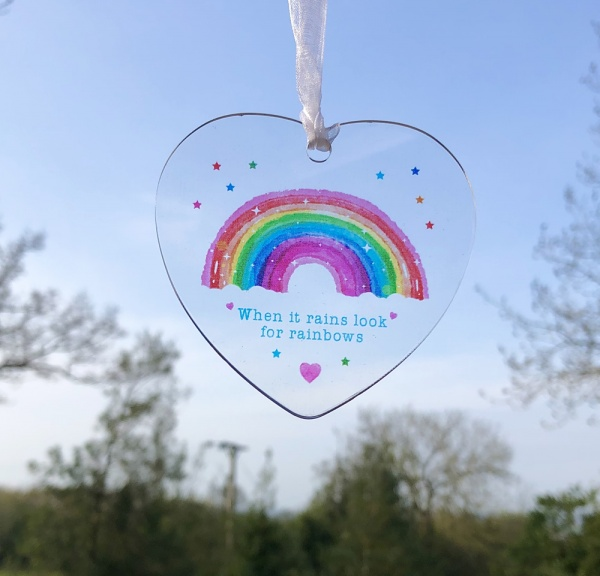 When It Rains Look For Rainbows Acrylic Heart Suncatcher Ornament