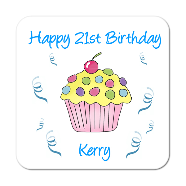 Cupcake (Yellow Cherry) Personalised Birthday Coaster