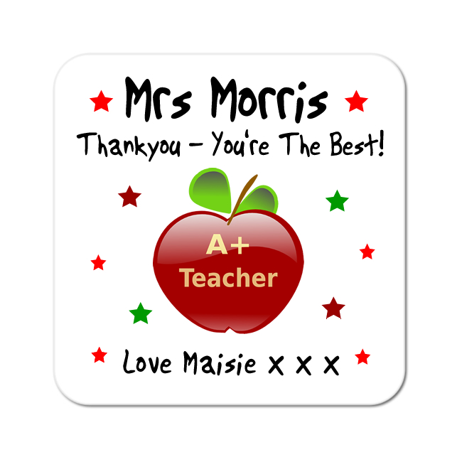 Thankyou Teacher Personalised Gift Coaster