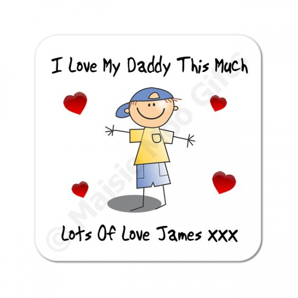 Cartoon Boy - I Love My .. This Much Personalised Coaster