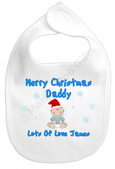 Merry 1st Christmas Daddy Personalised Bib