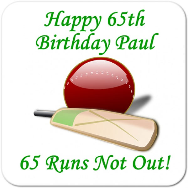 Cricket Runs Not Out.. Personalised Birthday Coaster