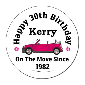 Mini On The Move Since.. Personalised Birthday Coaster