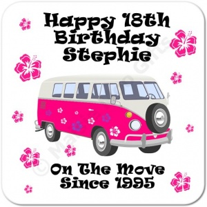 Camper Van On The Move Since.. Personalised Birthday Coaster