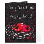 Personalised Love Bird Black Greeting Card