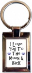 Blue Hearts I Love You To The Moon & Back Metal Keyring In Gift Box