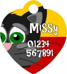 Cartoon Cat Heart Shaped Metal Personalised Pet Tag