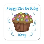 Cupcake (Chocolate) Personalised Birthday Coaster