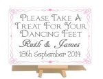 Personalised Swirly Dancing Feet Metal Sign With Wooden Easel