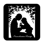 Mother & Child Silhouette Personalised Coaster