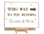 Personalised ''This Way To The Wedding'' Vintage Shabby Chic Metal Sign