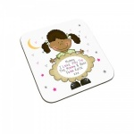 Personalised I Love You To The Moon & Back Child Coaster (Black Haired Girl)