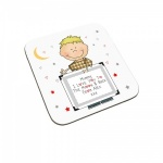Personalised I Love You To The Moon & Back Child Coaster (Blonde Haired Boy)