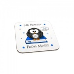 Personalised Blue Owl Thank You Teacher Gift Wooden Coaster