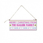 ''Let It Snow'' Personalised Christmas Hanging Plaque