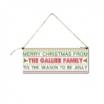 ''Tis The Season To Be Jolly'' Personalised Christmas Hanging Plaque