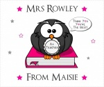 Personalised Pink Owl Teacher Thank You Glasses Cleaning Cloth Gift