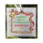 Personalised Christmas Tree First Christmas As Couple Frosted Glass Decoration