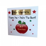 Personalised Apple Thank You Teacher Greeting Card