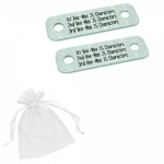 Personalised Three Lines Metal Brushed Steel Trainer Shoe Lace Tags