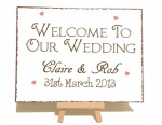 Welcome To Our Wedding Personalised Vintage Shabby Chic Sign