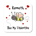 Bee My Valentine Personalised Coaster