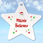 Personalised Believes Santa Christmas Tree Star Decoration