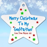 Personalised Merry Christmas Godparents Christmas Tree Ornament