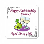 White Wine Aged Since.. Personalised Birthday Coaster